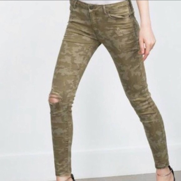Zara Z1975 Camouflage Camo Distressed Skinny Jeans